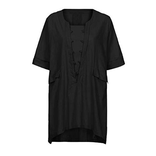 Bluse Baggy Accogliente Rotondo Manica Moda Eleganti Camicetta Irregular Grazioso Button Collo Donna Lino Estivi Camicia Camicie Corta Schwarz Monocromo Casual Xqw6BpT