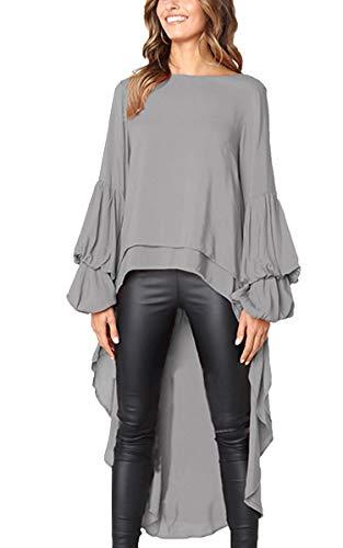 (Angashion Women's Loose Lotus Leaf Cocktail Round Neck Flounce Ruffle Sleeve Irregular High Low Maxi Dress Gray L)