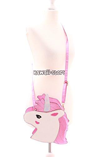 LB-61-2 Rosa Pink Unicorn Einhorn Metallic Glitzer Fairy Figur Sweet Pastel Goth Lolita Bag Harajuku Umhänge-Tasche