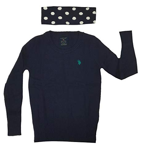U.S. Polo Assn. Juniors Crew-Neck Pullover with Polka Dot Scarf, Eclipse Navy Combo, - Dot Multi Colored Scarf Polka