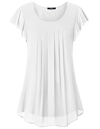 Tunic Tops for Leggings for Women,Lotusmile Ladies Casual Ruffle Short Sleeve Scoop Neck A Line Runched Top Elegant Cool Two Layered Chiffon Blouses Plus Size T Shirts for Women Fashion 2019,White XXL