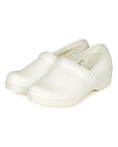 Refresh Women Leatherette Round Toe Slip On Clog BH36 - White (Size: 8.0) by Refresh (Image #4)'