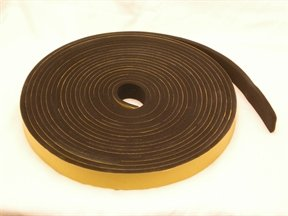 "NEOPRENE RUBBER Self Adhesive Strip ;1"" wide x 1/4"" thick x 33 feet long"
