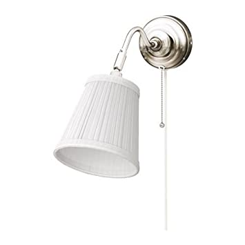 IKEA Arstid Wall Lamp, Nickel Plated, White Lampshade