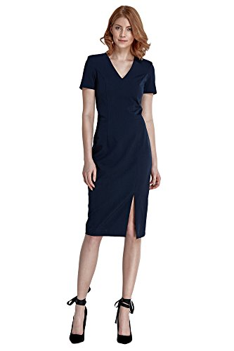 Etuikleid Ärmeln Nife V Damen Marineblau Abendkleid und Kurzen mit Ausschnitt E4784vqc