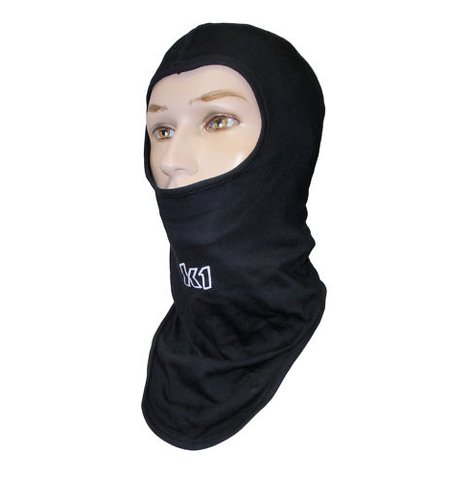 - K1 Race Gear 701430 Black Cotton Full Face Head Socks - Balaclava