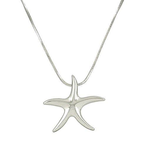 Starfish Pendant Necklace High Polished Rhodium J0159
