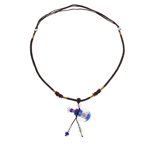 Glass Locket Necklace Fragrance Essential Oil Aromatherapy Diffuser Pendant Necklace Jewelry Crafting Key Chain Bracelet Pendants Accessories Best  Color - Dark Blue