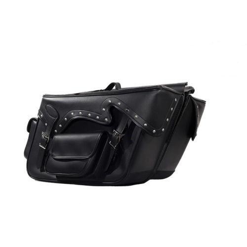 LARGE QUICK DETACH STUDDED MOTORCYCLE PVC LEATHER SADDLEBAGS UNIVERSAL FIT -BLACK (BLACK) - Leather Studded Saddlebags