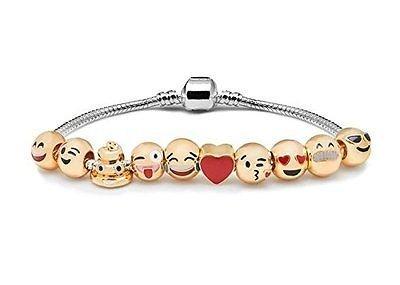 Yun Emoji Bracelet 18K Gold Plated 10 Bead Emoji Faces Charm Bracelet Party Favours