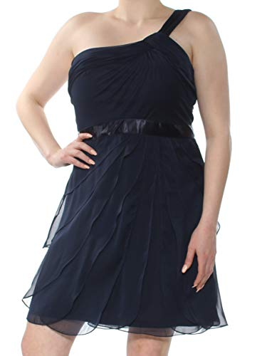 Adrianna Papell Womens Tiered One Shoulder Cocktail Dress Navy 16