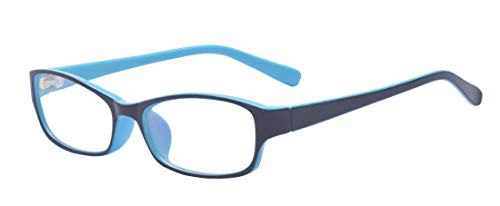 Outray Kids Retro Rectangle Clear Lens Glasses for Boys Girls Blue]()