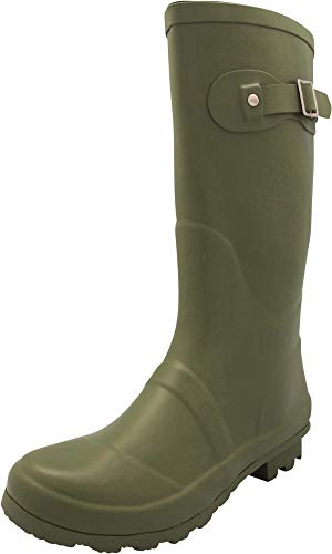 NORTY - Womens Hurricane Wellie Solid Matte Mid-Calf Rain Boot, Olive 40706-6B(M) US by NORTY