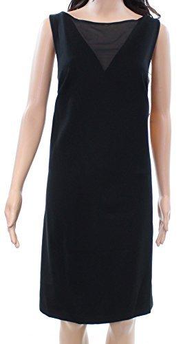 Lauren Ralph Lauren Womens Ponte Mesh Cocktail Dress Black XS
