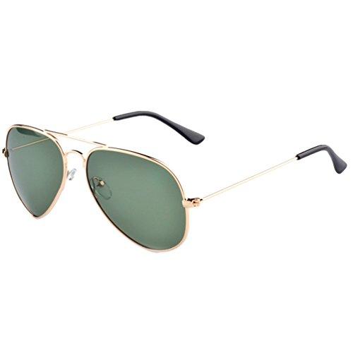 LINNUO Hombre Aviador de Gafas Mujer Verde Protección Drive UV Marco Sunglasses Oscuro Lente Polarizadas Gafas Playa Vintage Eyeglasses Oro Sol wrrgqnx