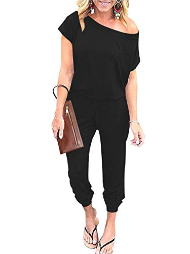 Prinbara Women's Casual Jumpsuit Solid Off Shoulder Elastic Waist Stretchy Long with Pockets
