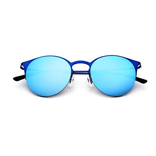 de pour Blue De Montantes Demi Soleil Couleur Lens TLMY des Blue À Lunettes Lens Frame Conduisant Lunettes Soleil De Lunettes Soleil Frame Hommes Blue Blue qnP46