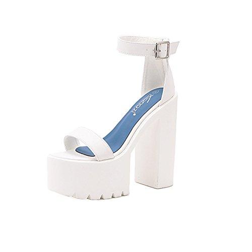 ... Profundo Boca Verano Zapato Mujer Blanco. Cuñas Sandalias Ronda Dedo del  pie Hebilla Talón Envuelto Tobillo Zapatos de Tacón alto Antideslizantes  Poco d1843fdb9ed0