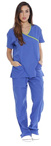 New Medical Scrubs Uniform Wrap - Just Love Women's Scrub Sets/5 Pocket Medical Scrubs Uniforms (Mock Wrap), Royal Blue With Lime Trim, Medium