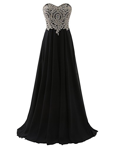 Erosebridal Floor Length Strapless Prom Dress With Gold Embroidery Black (Black Strapless Prom Dress)