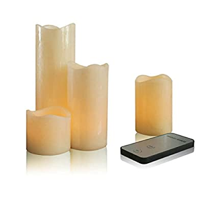 LIANDER HOME Flickering Flameless Candles - led divine candles, Set of 4 Real Wax flickering Pillar Candle with Remote Timer Battery Operated