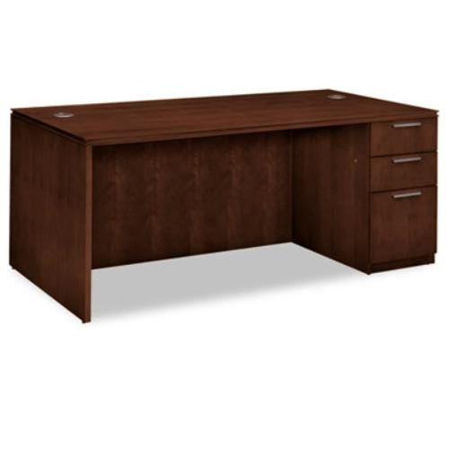 HON VW076RC1Z9FF Arrive Single Pedestal Veneer Desk, Right, 72w X 36d X 29-1/2h, Shaker Cherry (Single Style Shaker)