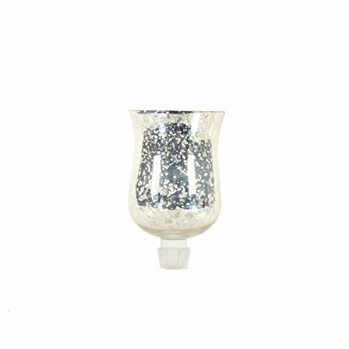 Koyal Wholesale Candelabra Hurricane Glass Shades, Bulk Set of 6 Peg Votive Holders (Antique Silver, 3-Inch)