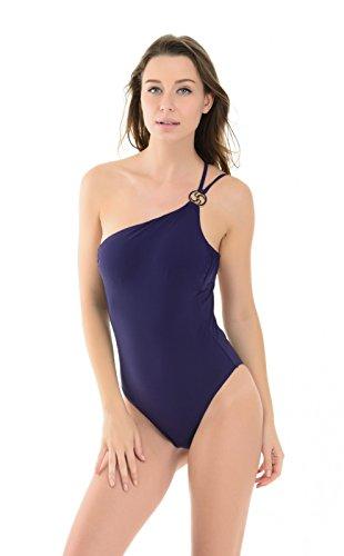 La Isla Women's One Piece With Gold Hardware Swimsuit Swimwear Beachwear Dark Blue US 14