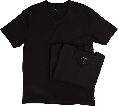 Hugo Boss BOSS Men's 3-Pack V-Neck Regular Fit Short Sleeve T-Shirts, Black, -