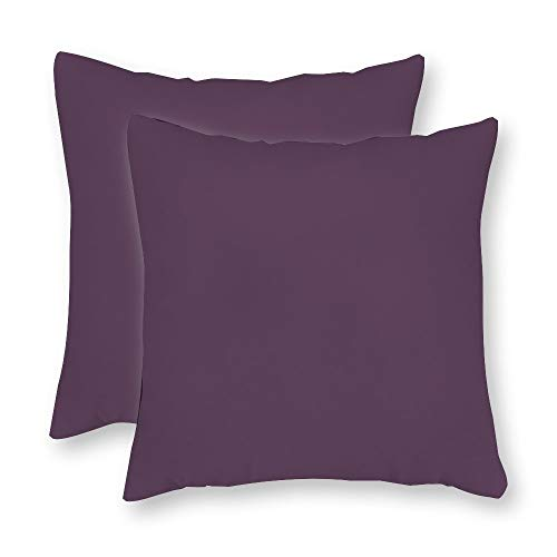 - FabricMCC Set of 2, Sunbrella Iris Short Plush Pillow Cover, Dark Purple Outdoor Throw Pillow Cover, Violet Purple Throw Pillow, Decorative Plum Outdoor Throw Pillow 24 x 24 Inch