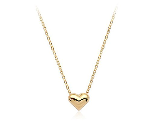 Simple Small Smooth Heart Pendant Necklace Fashion Jewelry for Women (Gold Small Heart Earrings)