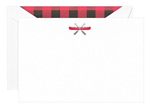 Canoe Pearl (Crane Engraved Canoe Correspondence Card, Pearl White (CC3851))