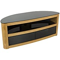AVF Affinity Plus - Burghley Plus 1250 Curved TV Stand (Oak/Black Glass)