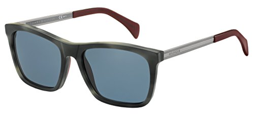 Tommy Hilfiger Th1435s Wayfarer Sunglasses, Gray Havana Ruthenium/Blue, 55 - Hilfiger Wayfarer Tommy