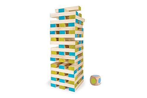 - BuitenSpeel Toys GA277 Large Tower Wooden Block Stacking Game, Natural/Blue/Green