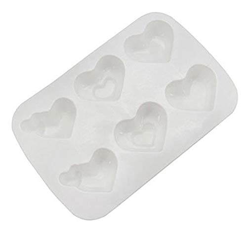 Non-Stick Donut Baking Pans 6 Holes 3D Silicone 3 Heart Shapes Cake Mold For Desserts Candy Pastries Pans Cakes Decorating Bakeware ()