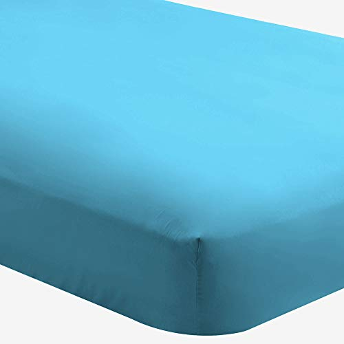 Bare Home Fitted Bottom Sheet Twin Extra Long - Premium 1800 Ultra-Soft Wrinkle Resistant Microfiber - Hypoallergenic - Deep Pocket (Twin XL, Aqua)