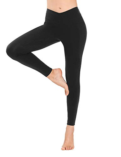 MOVE BEYOND Buttery Soft Women's V Front Waist Yoga Gym Leggings with Side Pockets Tummy Control Workout Running Thights
