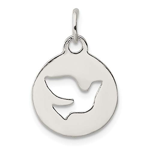 Jewel Tie Sterling Silver Circle Dove Charm - (0.75 in x 0.55 in)