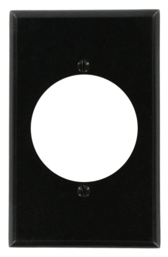 Leviton 80528-BLK 1-Gang Flush Mount 2.15-Inch Diameter, Device Receptacle Wallplate, Midway Size, ()