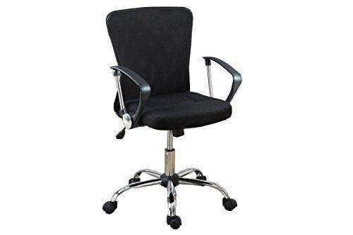 "Poundex Mesh Back Gaslift Office Chair, 41.7"", Black"