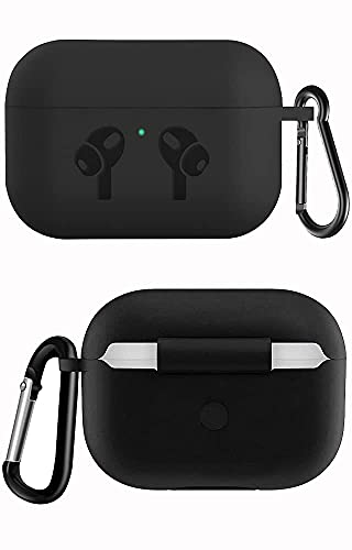 Shock Proof Protection Cover Case Compatible for Airpods Pro Wireless Headset Headphones Earphone (Front LED Visible) (Carrying Bag Style) (Black)