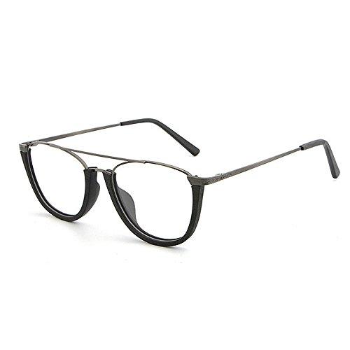 Hombres Gafas Gafas de unisex sol Gafas con protección de sin redondas sol conducción Retro de semi madera de montura de sol UV de Gafas de sol de Negro esqu gafas sol Gafas clásicas playa mujeres de para qHOTP