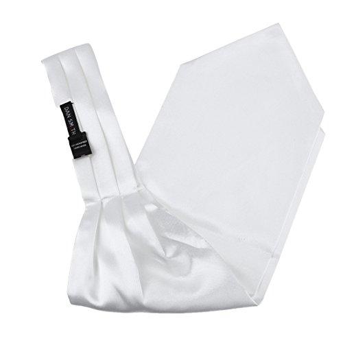 Dan Smith DRA7E01G White Solid Beautiful Goods Mens Ascot Formal Wear Gift Cravat Sale for Wedding]()
