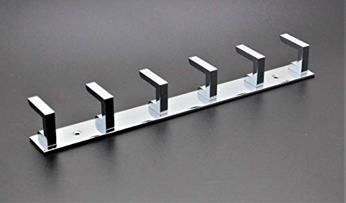 Volo premium 6 Pin chrome/glossy Cloth hanger, wall door hooks rail for hanging clothes, Bathroom towel hook set.