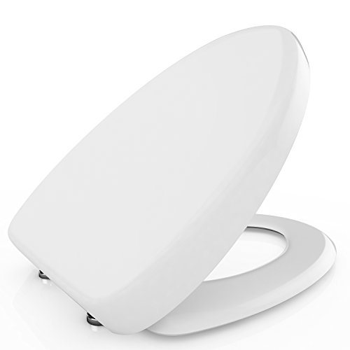 BATHWA Toilet Seat with Cover, Soft Close Quick Release for Easy Cleaning Fits All Manufacturers' Round/Elongated Toilets, White