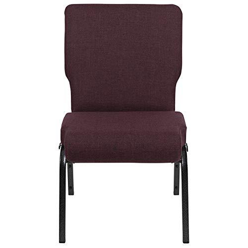 Flash Furniture 20.5″ Church Chairs, Grape/Amethyst Fabric/Silver Vein Frame