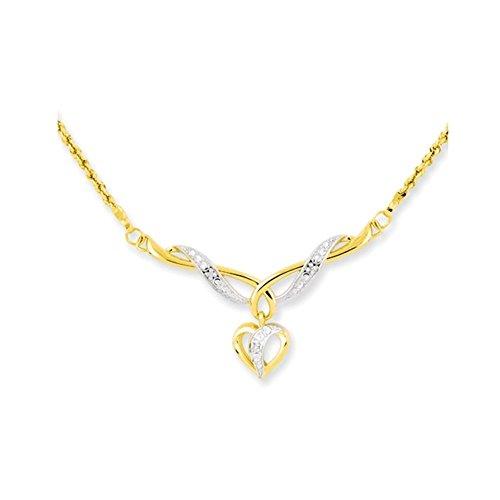 Jewelry Adviser Bracelets 14KT 17 in TWO-TONE DANGLE HEART W/ROPE CHAIN Length 17