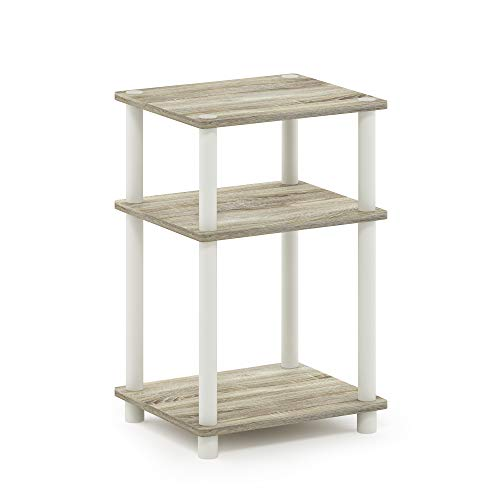 Furinno 11087OK/WH Just 3-Tier Turn-N-Tube End Table, 1-Pack, Sonoma - End Table Wide Sonoma