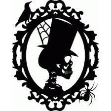 SKELETON TOP HAT FRAME HALLOWEEN VINYL STICKER (Top Hat Haunted)